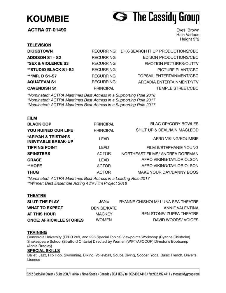 Koumbie FILM Acting Resume (JUL19)